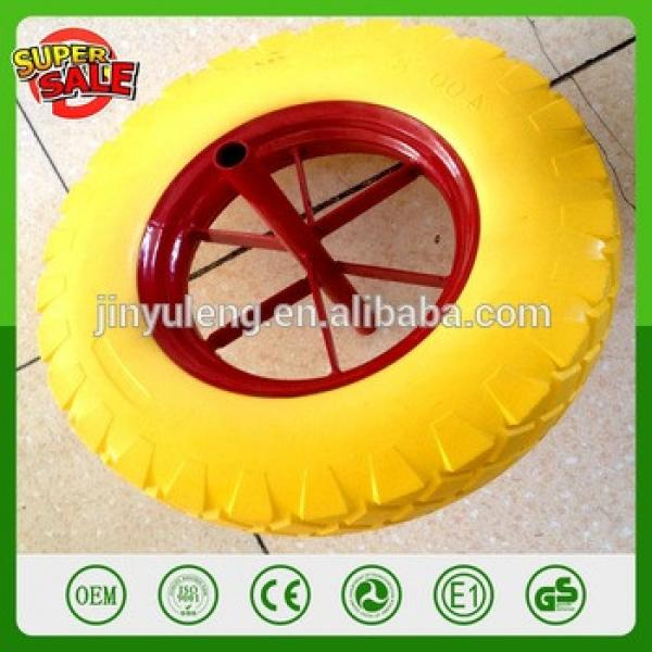 16 inch 4.00-8 Metail rim solid PU foam wheel for wheelbarrow barrow WB6400 spoke rim with axle solid tubeless tire #1 image