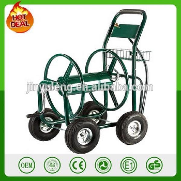 300FT capacity metal 4 wheel Outdoor Green courtyard humb Professional Garden Hose water pipe Reel Cart #1 image