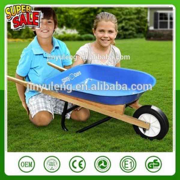 Wh0201 Plastic tray wood handle wheel barrow for children kid'sChildren toys #1 image