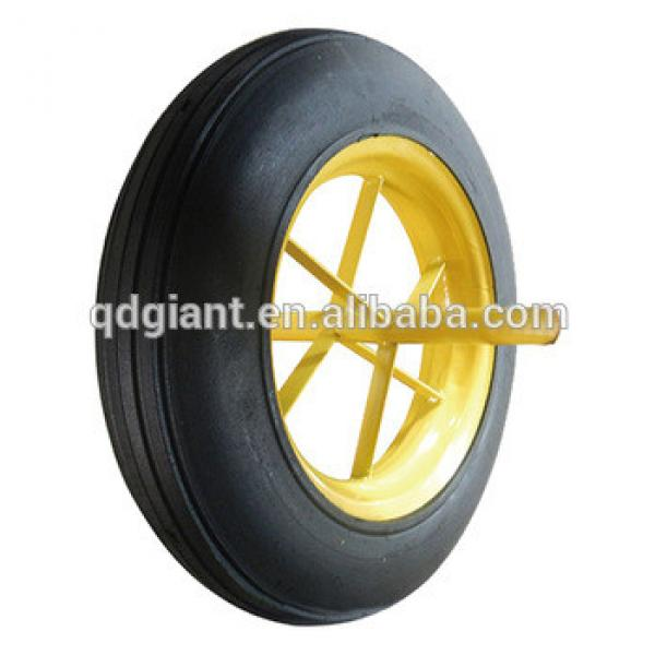 solid wheel with Steel rim 14X4'' rubber wheel Toy cart wheel #1 image